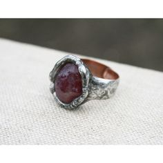 ruby ring, statement ring, synthetic ruby ring, lab ruby ring, stone... (195 PLN) ❤ liked on Polyvore featuring jewelry, rings, ruby ring, statement ring, cocktail rings, goth rings, stone band rings, ruby band ring and copper band ring