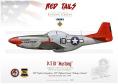 """P-51D """"Mustang"""" 10 """"Lollipoop II"""" Red Tails GM-61 - AviationGraphic. Air Fighter, Fighter Pilot, Fighter Jets, Ww2 Aircraft, Fighter Aircraft, Military Aircraft, Tuskegee Airmen, P51 Mustang, Aircraft Painting"""