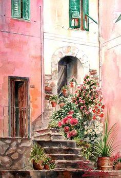 Vernazza Door Flowers - Watercolor Painting of Vernazza, Italy