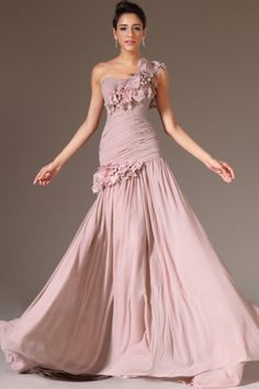 2014 One Shoulder Pleated Bodice Sheath/Column Evening Dress Chiffon With Handmade Flowers