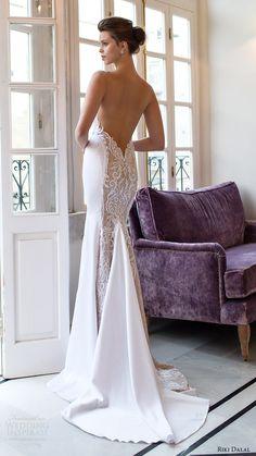 riki dalal bridal 2016 sleeveless deep vneck thick straps embroidered bodice sheath wedding dress (1813) bv elegant glam low back train