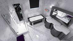 Priestranná kúpeľňa v čiernobielej kombinácii s veľko-formátovým, mramorovým obkladom… Viac náhľadov tejto vizualizácie na: Kupelnovy-manual.sk