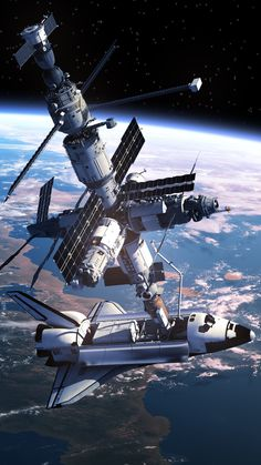 Space Galaxy Space Shuttle Docking With Space Station - TouCanvas - Space Shuttle Docking With Space Station. Cosmos, Space Planets, Space And Astronomy, Nasa Space Pictures, Mars Mission, Hubble Space Telescope, Apollo 11, Earth From Space, Space Program