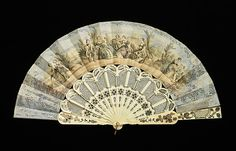 Fan Date: third quarter 19th century Culture: British Medium: ivory, paper, gouache, mother-of-pearl, metal, metallic Dimensions: 10 1/2 in. (26.7 cm) Credit Line: Brooklyn Museum Costume Collection at The Metropolitan Museum of Art, Gift of the Brooklyn Museum, 2009; Gift of Mrs. S. W. Quackenbush, 1917