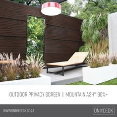 Did you know that you can combine our products to create beautiful elements in your outdoor area? Enhance your deck and outdoor space with beautiful cladding, pergolas or a privacy screen. Scroll through the images for some inspiration. Privacy Screen Outdoor, Garden Screening, Outside Living, Outdoor Areas, Outdoor Furniture, Outdoor Decor, Cladding, Sun Lounger, House Design