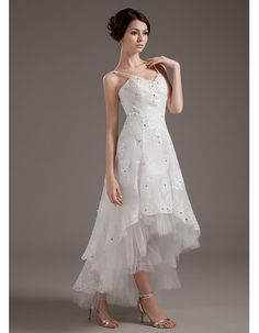 Lovely Spaghetti Straps V-neck High-low Wedding Dresses with Beaded Applique/ Asymmetric Reception Wedding Gowns for Spring