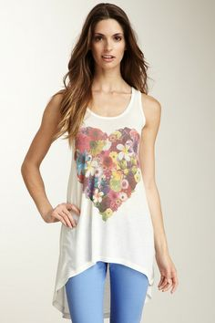 Rose Heart Hi-Lo Tunic Sweater Tank by Go Couture on @HauteLook