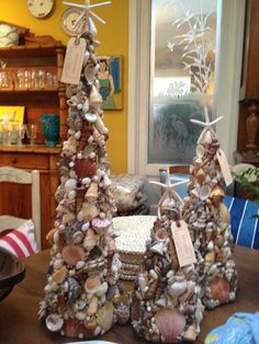 seashell Christmas trees: DIY, starfish, beach Christmas