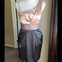 Grey and peach formal Embellished waistband on this adorable mini formal. Worn once. Dresses Mini
