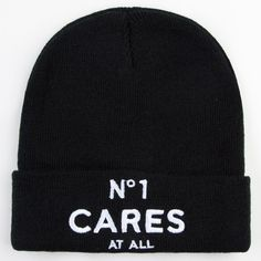 REASON No 1 Cares Beanie ($22) ❤ liked on Polyvore featuring accessories, hats, beanies, headwear, black, black beanie, embroidery hats, black beanie cap, beanie hats and black beanie hat