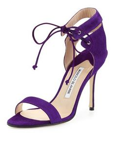 Laramod+Suede+Ankle-Wrap+Sandal,+Purple+by+Manolo+Blahnik+at+Bergdorf+Goodman.