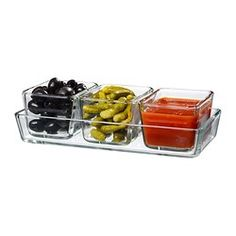 MIXTUR Oven/serving dish, set of 4, clear glass - IKEA