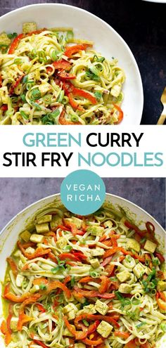 Ready in under 30 minutes, these Vegan Thai Green Curry Noodles are the perfect simple weeknight dinner recipe. They're naturally vegan, packed with healthy veggies, fragrant with Asian flavors and pair perfectly with any plant-based protein you want to add. No need for store-bought curry paste! Green Curry Recipes Vegetarian, Vegan Thai Green Curry, Green Curry Sauce, Vegan Curry, Vegetarian Meals, Curry Noodles, Stir Fry Noodles, Raw Food Recipes, Dinner Recipes