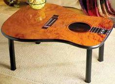 Coffee table made from repurposed guitar face Guitar Crafts, Guitar Diy, Guitar Room, Acoustic Guitar, Music Furniture, Cool Furniture, Guitar Shelf, Diy Casa, Repurposed Furniture