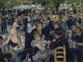 Auguste Renoir. Dance a the Moulin de la Galette, 1876. Shown at the Impressionist exhibition in 1877. Though some of his friends appear in the picture, Renoir's main aim was to convey the vivacious and joyful atmosphere of this popular dance garden on the Butte Montmartre. The study of the moving crowd, bathed in natural and artificial light, is handled using vibrant, brightly coloured brushstrokes.