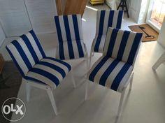Zestaw 4 krzesla biale w paski Poznań - image 1