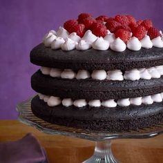 Dark Chocolate-Raspberry Layer Cake; This is the cake my son has requested for his birthday.
