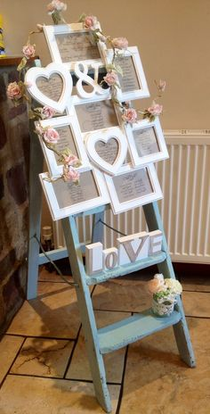 Table plan #shabby chic ladder frame and roses