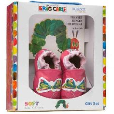 My daughter got these for her 1st Birthday and I love them. These are Eric Carle The Very Hungry Caterpillar Robeez (butterfly/pink for girls caterpillar/blue for boys) with board book.