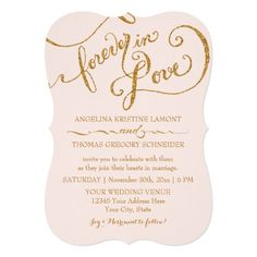 Tag Style Script Forever in Love Gold Glitter Card
