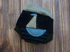Nautical Newborn Wool Diaper Cover, shorties