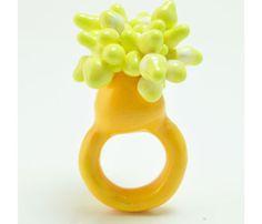 Wenhui Li - Yellow ring in Fimo, thread, resin and acrylic