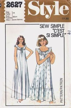 1979 Nightie Style 2627 Pattern Late Vintage