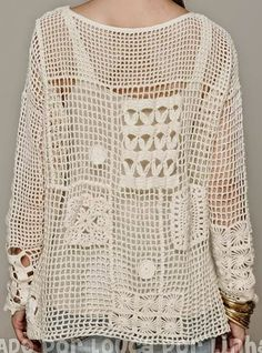 Fun crochet free form patchwork top inspired by Free People Fall Pullover.