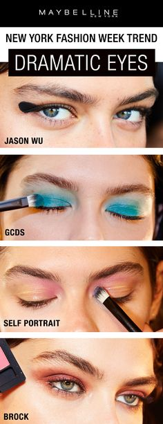 Dramatic eyeshadow and eyeliner looks were the biggest trend on the New York Fashion Week runways.  Seen at shows like Jason Wu, GCDS, Self Portrait, and Brock Collection, a dramatic eye was the perfect pairing with all the spring summer looks.  Click through for more NYFW inspiration.