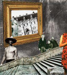 Dans l'escalier. Collage papier. Collage de Zophie Zyphon