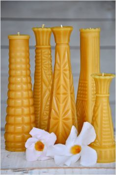 Milk Glass Vase Collection: Beeswax Candles