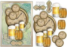 Beer O Clock male card  on Craftsuprint designed by Sallyanne O'Connell - A delightful card to make that is easy to make up. A great card that would suit any male occasion. Lovely once done. Matching insert also available for purchase. Cut out smaller portions and attach to the main image using silicone or sticky pads. Thank you for looking and or purchasing. Please click on my name to see more of my wonderful designs...Sallyanne... - Now available for download!