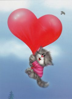 VERY RARE Cat with heart balloon by Alexey Dolotov Russian modern postcard Rare Cats, Cats And Kittens, Snow Maiden, Gif Photo, Heart Balloons, Animation, Morning Greeting, Love Images, Cute Love