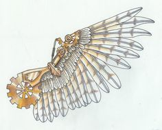 steampunk armor design-wings by ~MechanicalHyena on deviantART Want this as a tattoo, mirrored across shoulder blades.