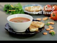 Enjoy the goodness of fresh juicy tomatoes in this easy tomato soup recipe with a crunchy garlic bread alongside. Easy Tomato Soup Recipe, Easy Soup Recipes, Vegetarian Recipes, Bread Recipes, Food Vids, Egg Drop, Bowl Of Soup, Special Recipes, Garlic Bread
