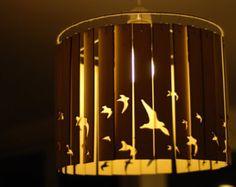 16 inch Laser cut wooden bird lampshade