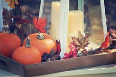 Lanterns, Pumpkins and Autumn Leaves  --  A Feathered Nest: Fall Baby Shower