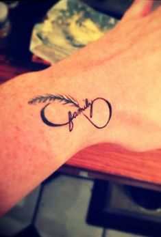 Family infinity feather tattoo