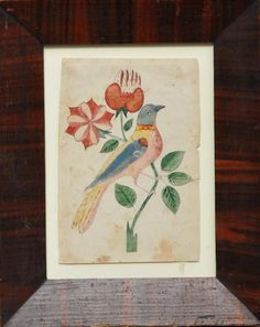 """Southeastern Pennsylvania watercolor Fraktur bookplateDepicting a finely detailed bird on a branch in a period grain painted frame.   8"""" x 10"""", 19th century."""