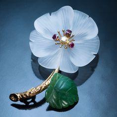 Vintage Rock Crystal Nephrite Ruby Diamond Flower Brooch - Antique Jewelry | Vintage Rings | Faberge Eggs