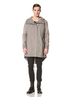 62% OFF Silent by Damir Doma Men\'s Leather Sleeved Coated Cotton Parka (Stone Grey)