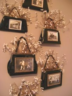 Great way to display vintage purses, and pictures too... I have used vintage purses for wallpockets too, they look great!