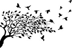 illustration of Tree and bird silhouette