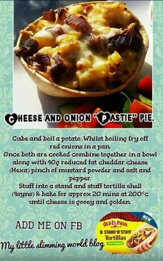 Slimming world cheese and onion pasty pie Slimming World Dinners, Slimming World Diet, Slimming World Recipes, Healthy Eating Recipes, Snack Recipes, Cooking Recipes, Healthy Meals, Diet Recipes, Healthy Food