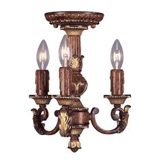 Sweet little ceiling light for those small spaces. Villa Verona Verona Bronze with Aged Gold Leaf Accents Three-Light Mini Chandelier