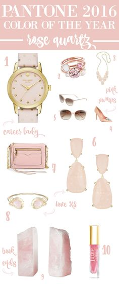 Cutest rose quartz accessories. 1/2 of the Pantone Color of the Year!