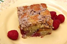 This very moist, fruit-filled coffeecake with its crunchy cinnamon-scented streusel topping is easy to mix up in one bowl, and the nectarines and raspberries combine all of the best summer bounty in one treat.   Nectarine Raspberry Fruit Buckle Recipe | Bakepedia