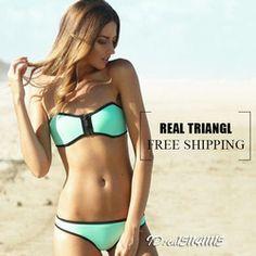 Online Shop Australia marca de neón de color Sexy Push up Real Winnie neopreno Triangl Bikini conjunto de trajes de baño|Aliexpress Mobile