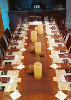 Place settings ready for a wine seminar at Duckhorn Winery, Napa Valley