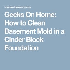 Geeks On Home: How to Clean Basement Mold in a Cinder Block Foundation